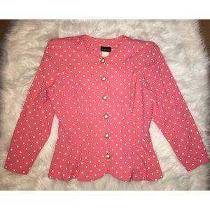 Jackets & Blazers - Vintage Pink Polka Dot Suite Jacket
